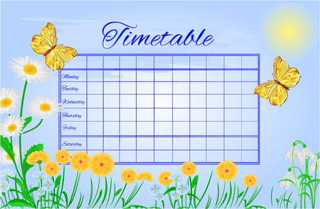 rhamni: Timetable butterfly  Gonepteryx rhamni vector school timetable vector illustration