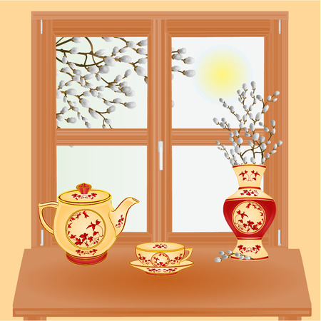 pussy willow: Spring window with pussy willow vase  and tea set vector illustration Illustration