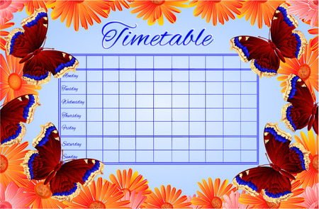 nymphalis: Timetable butterfly  Nymphalis antiopa vector school timetable vector illustration