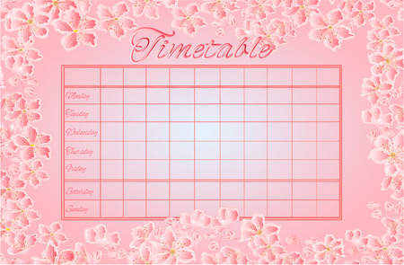 school schedule: Timetable weekly schedule with sakura school timetable vector illustration Illustration