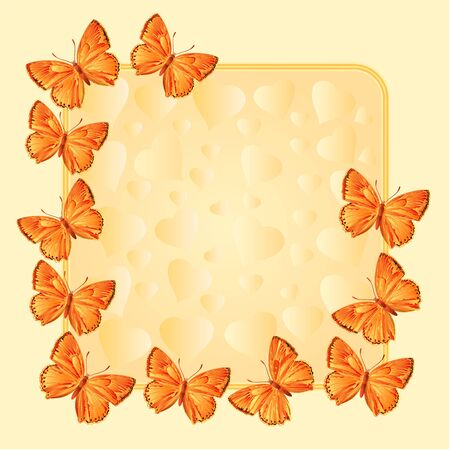 Frame with  gold butterflies Lycaena virgaureae  greeting card festive