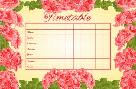 cronograma: Horarios horario semanal con la escuela rosada del hibisco ilustraci�n vectorial calendario