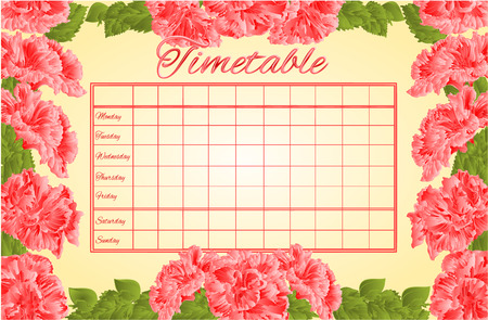 weekly: Timetable weekly schedule with pink hibiscus school timetable vector illustration