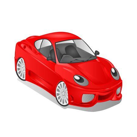 tsar: Merry small red car cartoon vector illustration