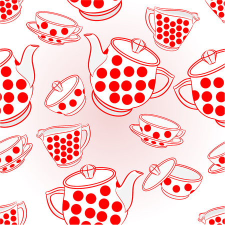 tea service: Seamless texture tea service with red dots porcelain vector illustration