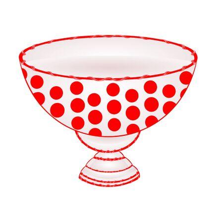 ceramic: Cuenco de fruta con puntos rojos vajilla de cer�mica ilustraci�n vectorial Vectores