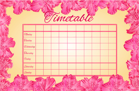 weekly: Timetable weekly schedule with pink rhododendron school timetable vector illustration