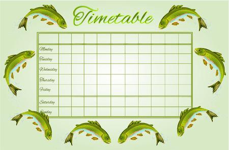 Timetable Rainbow trout school timetable vector illustration Illustration