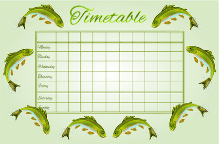 classes schedule: Timetable Rainbow trout school timetable vector illustration Illustration