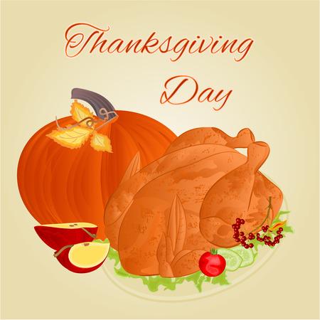 celebratory: Turkey Thanksgiving Day celebratory food vector illustration