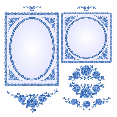 faience: Faience blue frames floral ornament vintage style vector illustration