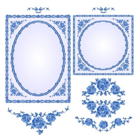 blumen verzierung: Fayence blauen Rahmen floralen Ornament Vintage-Stil Vektor-Illustration