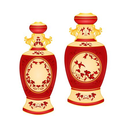 faience: Two vases with red floral pattern vintage vector illustration