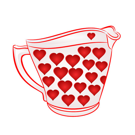 milk jug: Milk jug with red hearts part of porcelain vector illustration