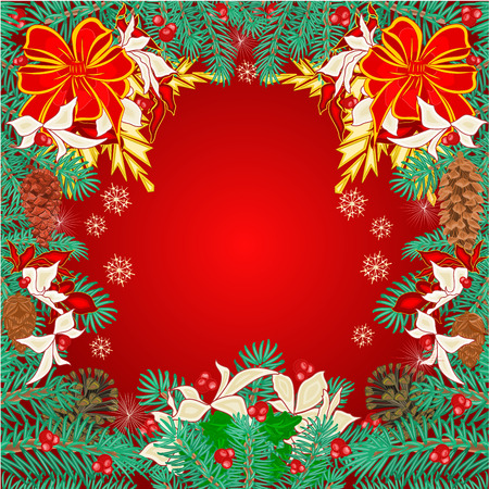 pine cones: Merry Christmas frame  of pine needles and  pine cones poinsettia and bows vector illustration Illustration