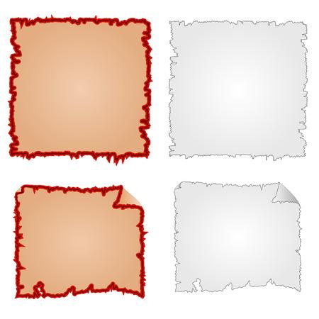 tattered: Frames or Damaged Equipment and tattered paper vector illustration