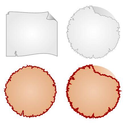 marcos redondos: marcos redondos o daño en el equipo y la ilustración vectorial de papel hecho jirones