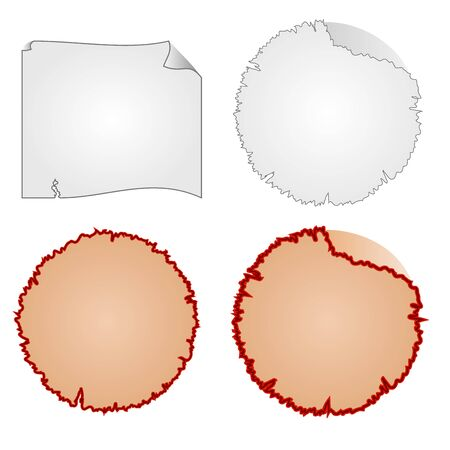 tattered: Round frames or Damaged Equipment and tattered paper vector illustration