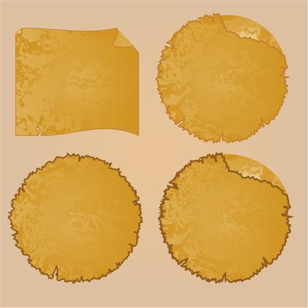 tattered: Round frames or Damaged Equipment and tattered paper vintage vector illustration