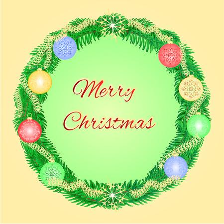 adventskranz: Frohe Weihnachten Adventskranz mit Beilagen und Schneeflocken Vektor-Illustration
