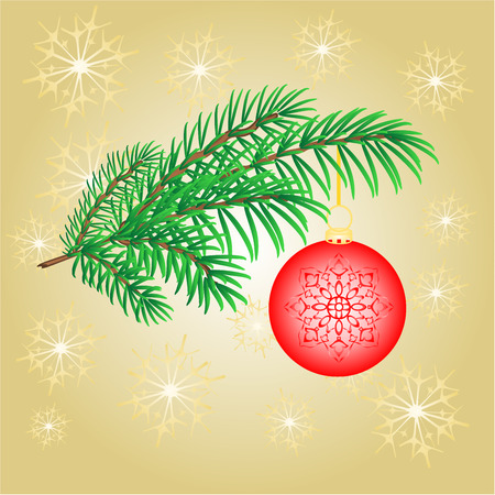 Christmas decoration branch with  red balls and snowflakes vector  illustration