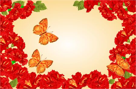 lycaena: Butterfly Lycaena virgaureae and red hibiscus spring background vector illustration