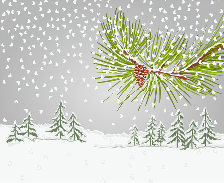 snow cone: Winter pine branch with snow and pine cone Winter background christmas theme vector illustration Illustration