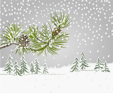 neige noel: Paysage d'hiver branche de pin avec de la neige et de cône de pin thème de Noël illustration vectorielle