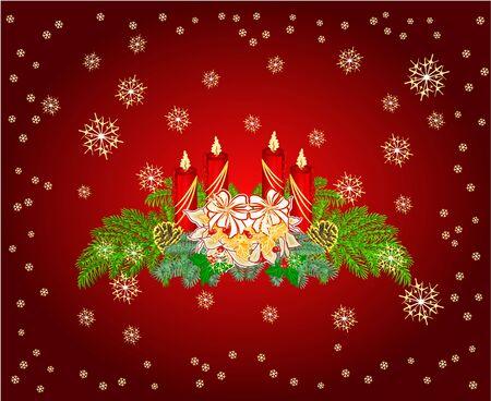 adventskranz: Adventskranz mit wei�en Weihnachtsstern und Kiefernzapfen Vektor-Illustration