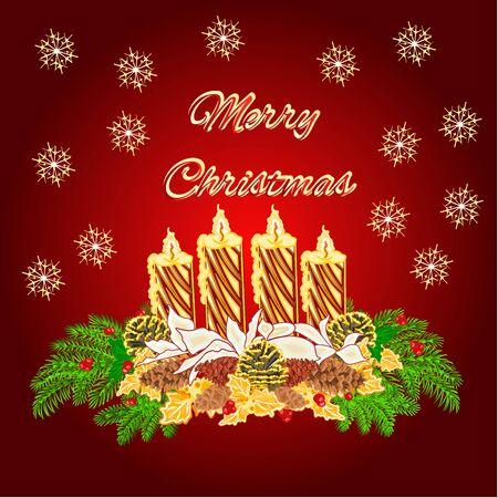 corona de adviento: Feliz Adviento Vela de la Navidad de la guirnalda de oro con blancas poinsettia y conos de pino ilustración vectorial Vectores