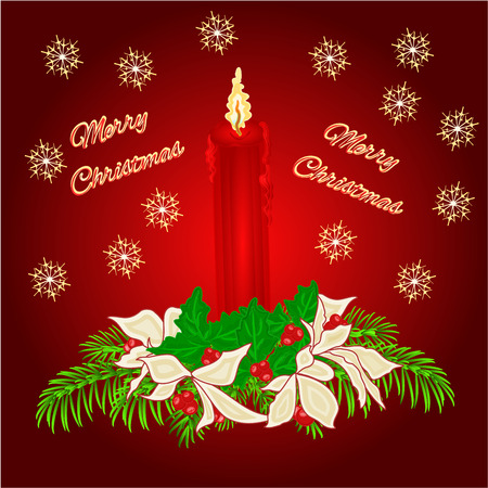 boughs: Merry Christmas red candle with boughs of holly and poinsettia  vector Illustration