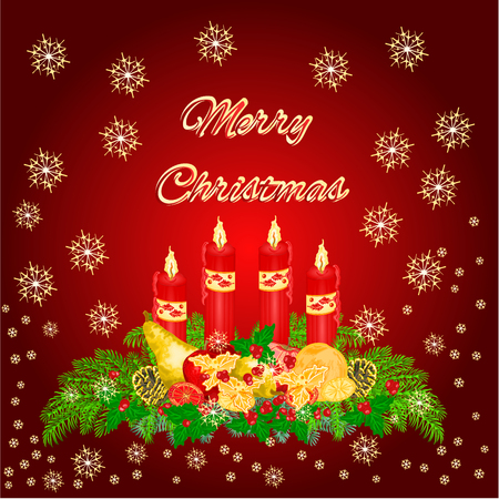 advent candles: Christmas decoration Advent wreath with fruit and red candles vector illustration
