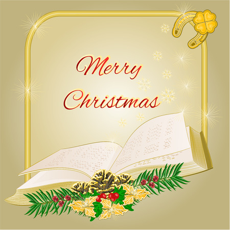 yew: Merry Christmas decoration  frame with book  and pine cones and yew vector illustration Illustration