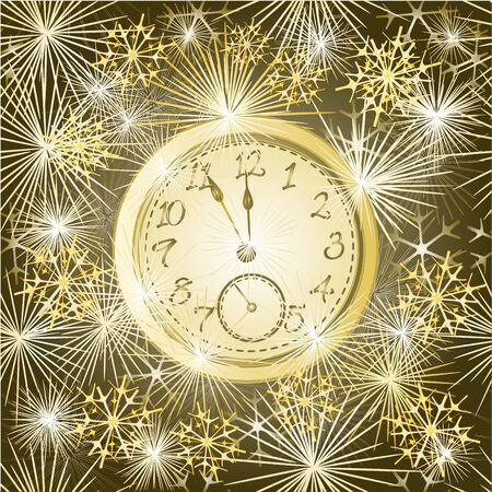 skyrocket: New year clock and fireworks vector Seamless texture  gold background vector illustration Illustration