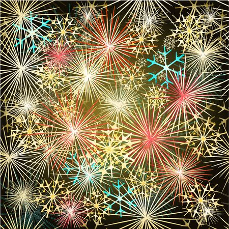 skyrocket: Happy New Year colorful fireworks vector Seamless texture  vector illustration Illustration