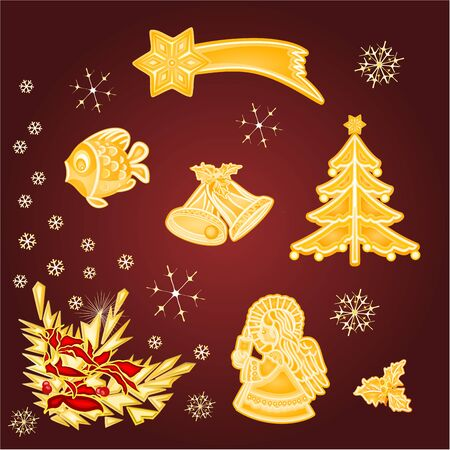 trimmings: Merry Christmas  set of gold decoration vintage trimmings vector illustration Illustration