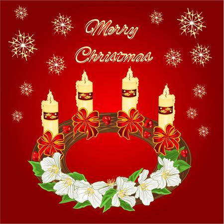 adventskranz: Merry Christmas decoration Kranz mit wei�en Blumen und wei�en Schleifen Vektor-Illustration Illustration
