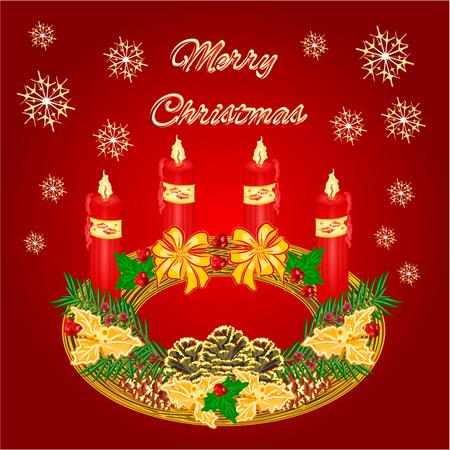advent wreath: Feliz Navidad decoraci�n circular corona de Adviento con la ilustraci�n vectorial pi�as