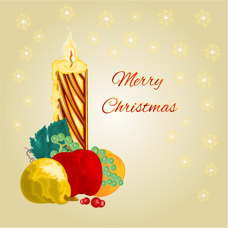 christmas candle: Merry Christmas candle with fruit apple pear orange grape vector illustration