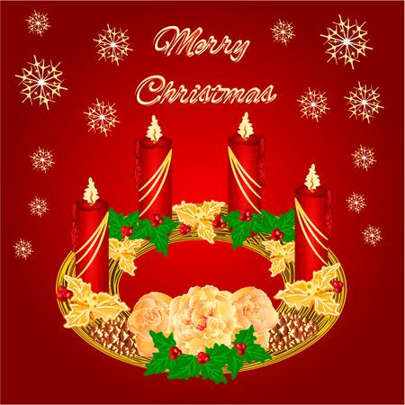 corona de adviento: Decoración Feliz Navidad circular corona de Adviento con la ilustración del vector de rosas de té