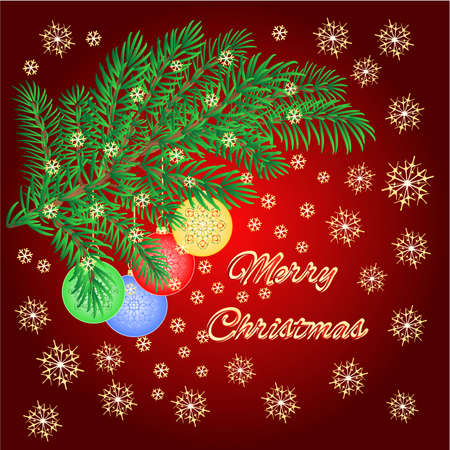 trimmings: Merry Christmas decoration Christmas branch with various baubles background vector illustration Illustration