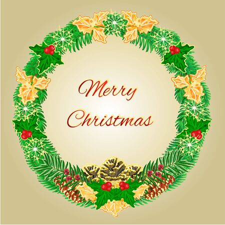 yew: Merry Christmas wreath with pinecones green and gold leaves holly and yew vector illustration