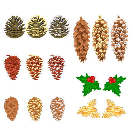 pine cones: Christmas decorations Four pine cones larch cones natural  and golden pine cones and snow pine cones vector illustration