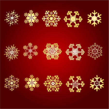 gold snowflakes: Christmas Snowflakes various pattern of gold snowflakes vector illustration