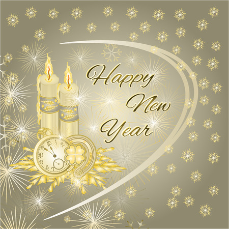 gold watch: Happy New Year gold candles and watch and snowflakes silver background Vector illustration