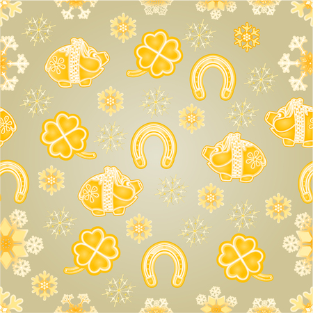 faience: Seamless texture symbols for luck Piggy cloverleaf horseshoe gold background Christmas decorations vector illustration