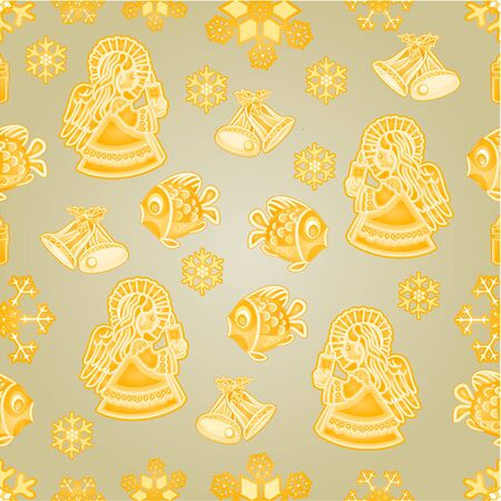 faience: Seamless texture golden Christmas decorations fish angel snowflakes bells candle vector