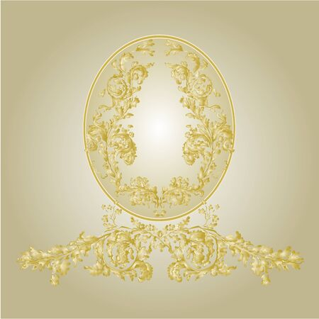 gold ornaments: Sticker label with gold ornaments vintage vector illustration