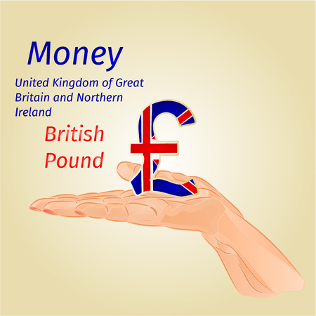 british pound: Money- The British Pound on palm vector illustration Illustration