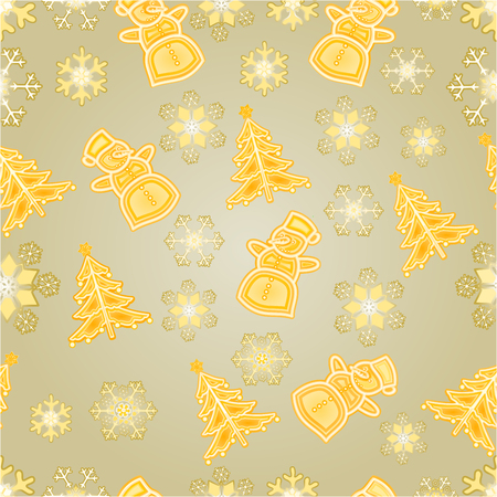 faience: Seamless texture golden snowman and snowflake and christmas tree Christmas decorations vector illustration Illustration